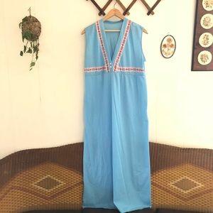1960's Sky Blue Hippie House Dress